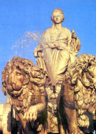 recent fountain sculpture of Kybele and her lions