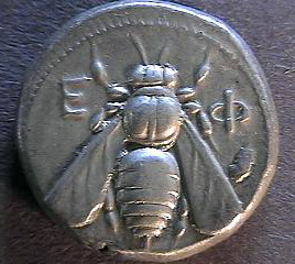 coin with bee and first letters of Ephesus