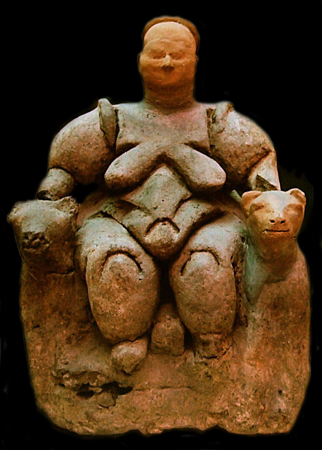 fat goddess seated between two leopards, in clay