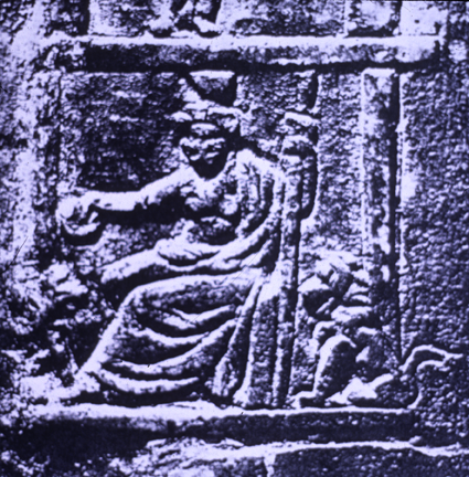 relief of seated  goddess flanked by lions