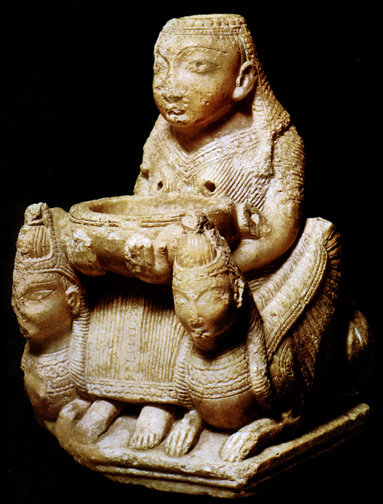alabaster goddess seated with basin held before her breasts