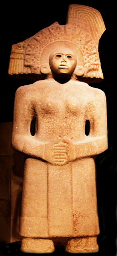 The Huastecs sculptured a large number of female monuments in stone, in eastern Mexico